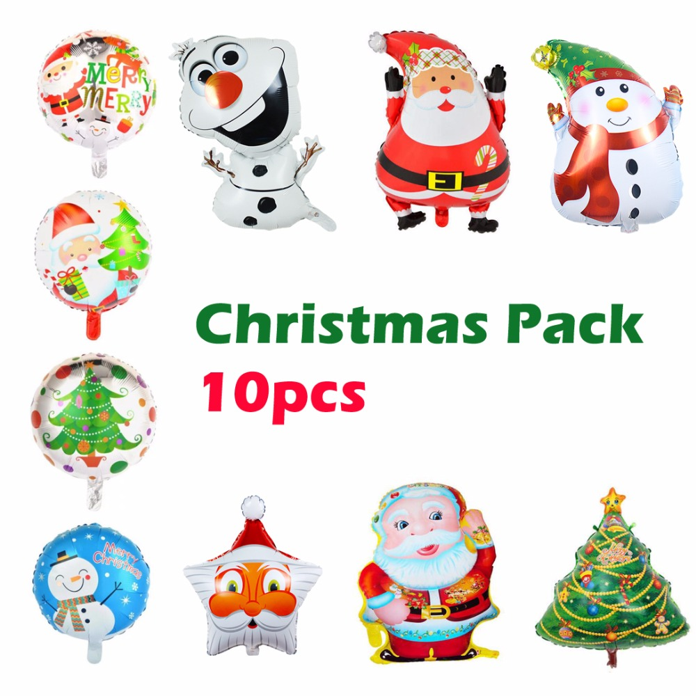 10Pcs Christmas Santa Claus Party Foil Balloon,New Year Snowman Xmas ...