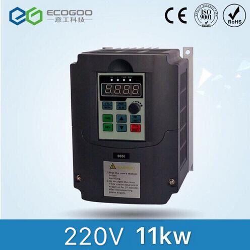 11KW 15HP 400 HZ VFD convertidor de frecuencia de inversor monofásico 220 v entrada 3 fases 380 v salida 24A para 10HP motor