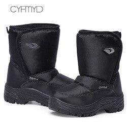 Homens inverno quente sapatos plus tamanho 45-46 zip náilon pvc antiderrapante ankle boots para o sexo masculino pé redondo botas de neve