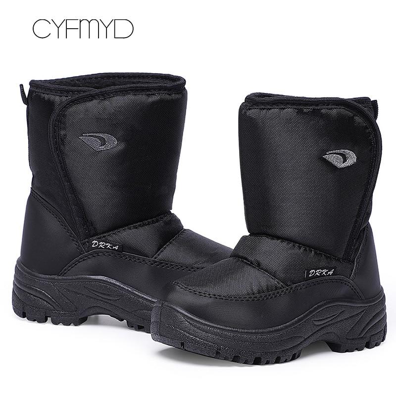 Men Winter Warm Shoes Plus Size 45-46 Zip Nylon PVC Non Slip Ankle Boots For Male Walking Round Toe Snow Boots Men Velvet