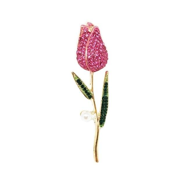Delicate Merah Ungu Perhiasan Wanita Pernikahan Bros untuk Wanita Pria Setelan Korsase Perempuan Kristal Tulip Bunga Bros Jarum