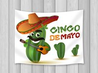 Carton Decor Tapestry Cosmetic Cactus With Mexican Hat Play Guitar Wall Art Hanging for Bedroom Living Room Dorm Wall Blankets