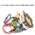 New Arrival!!! 1M Colorful Nylon Micro USB Cable Charger Data Sync USB Cable Cord For Android Smart Phone for tablet PC