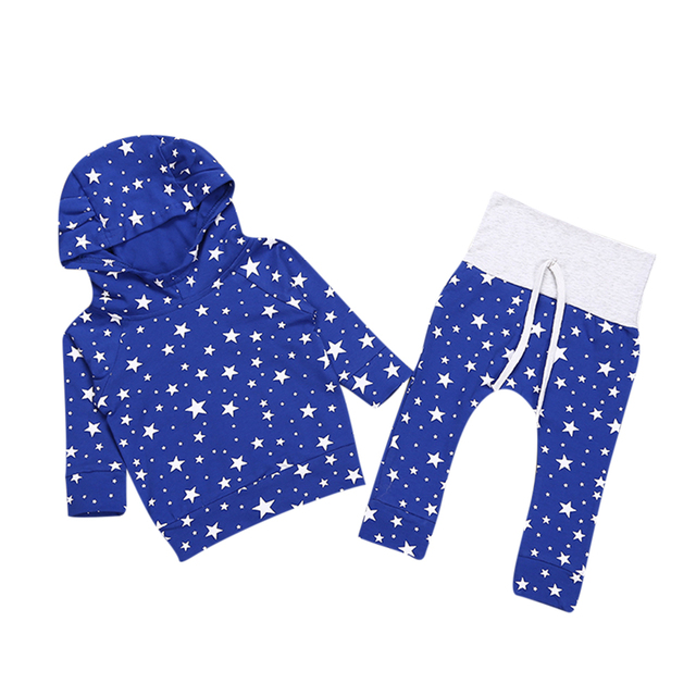 3e0f4fb9a3cef Autumn Baby Star Print Clothing Sets Newborn Baby Boys Girls Blue Star Cute  Hooded Tops+ Pants Legging Outfits Set 2pcs Clothes