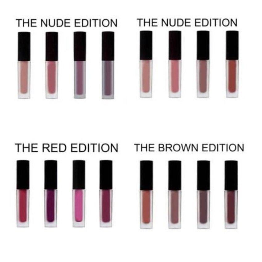 Neue Kosmetik Braun/Rot/Rosa/Nude Power Rosa Flüssigkeit Matte Minis Pulver Blushed Nudes Edition 4 Schatten liebe Sammlung Lippenstift