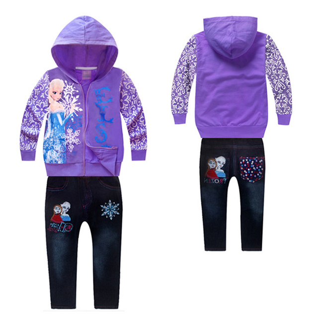 Girls Clothing Set Elsa Anna Girl Cartoon Sets Snow Queen Costume Outfits Suit Children Tracksuit 2pcs ( Jacket + Jeans Pants )
