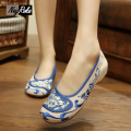 Sale summer Blue and White Elegant shoes women flats embroidery women flats shoes national style casual chinese shoes loafers