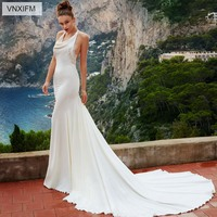 VNXIFM 2019 Halter Mermaid Wedding Dress Sleeveless Buttons Back Lace Informal Reception Wedding Gowns Beach Bridal Dress Sale