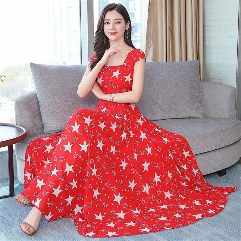 2019 New Summer Women Floral Print Chiffon Maxi Dress Female Square Collar Swing Dresses Lady Party Beach Draped Vestidos Y117 4