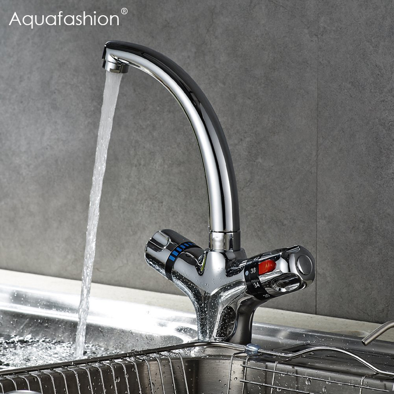 Thermostatic Faucet Kitchen Mixer Tap Flexible Swivel Spout Kitchen Faucets Hot and Cold Thermostatic Water Faucet china sanitary ware chrome wall mount thermostatic water tap water saver thermostatic shower faucet