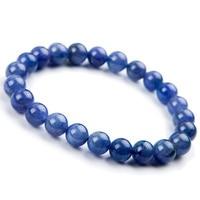 Genuine Natural Tanzanite Blue Gemstone Bracelet Round Beads 8mm Stretch Woman Beads Femme Man Crystal Birthday GiftAAAAA