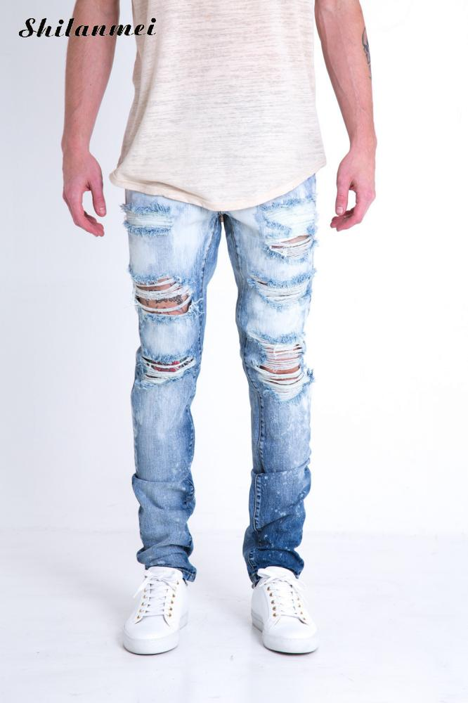 2017 new Hip Hop mens jeans Ripped Holes pants Korean style elasticity casual trousers cool stretch man denim pants