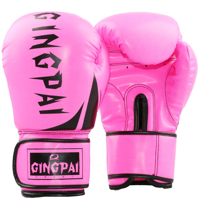 0b414c819 Adulto Feminino Masculino Muay Thai Luvas De Boxe 10 oz PU Mulheres Homens  Kungfu Wushu Sanda