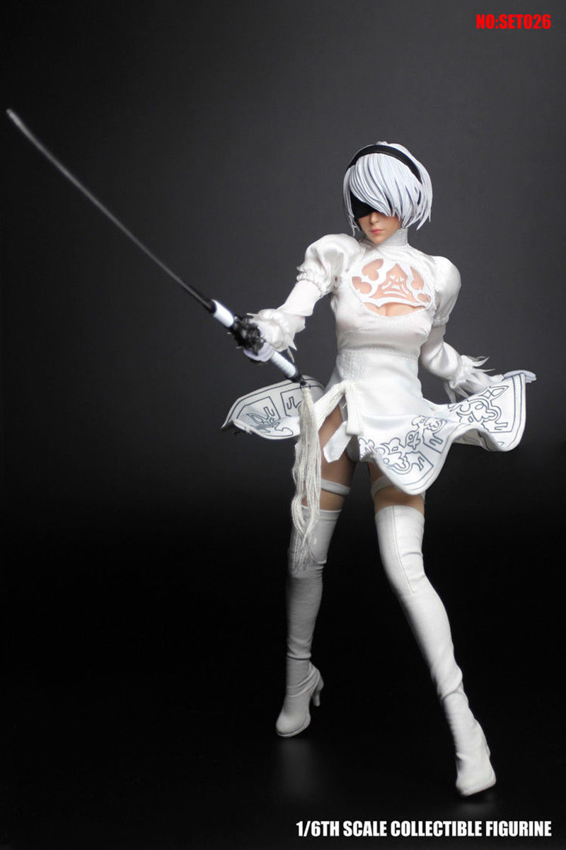 Sexy 1 6 Scale Female Figure NieR Automata 2B YoRHa Female Head White Costume SET026 Cosplay Model Accessory for 12 39 39 Pale body in Action amp Toy Figures from Toys amp Hobbies