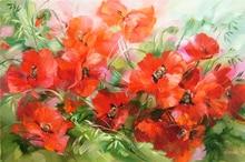 2015 New 3D diamant bricolage broderie fleur rouge Poppies peinture à l'huile abstraite strass motif point de croix aiguille tissu