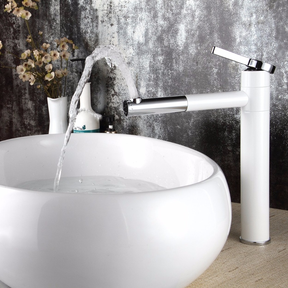 Grilled White Painted Brass Faucets Bathroom Sink Basin Mixer Tap single handle 360 Swivel Torneira Deck Mounte Mixer Taps W3032Grilled White Painted Brass Faucets Bathroom Sink Basin Mixer Tap single handle 360 Swivel Torneira Deck Mounte Mixer Taps W3032