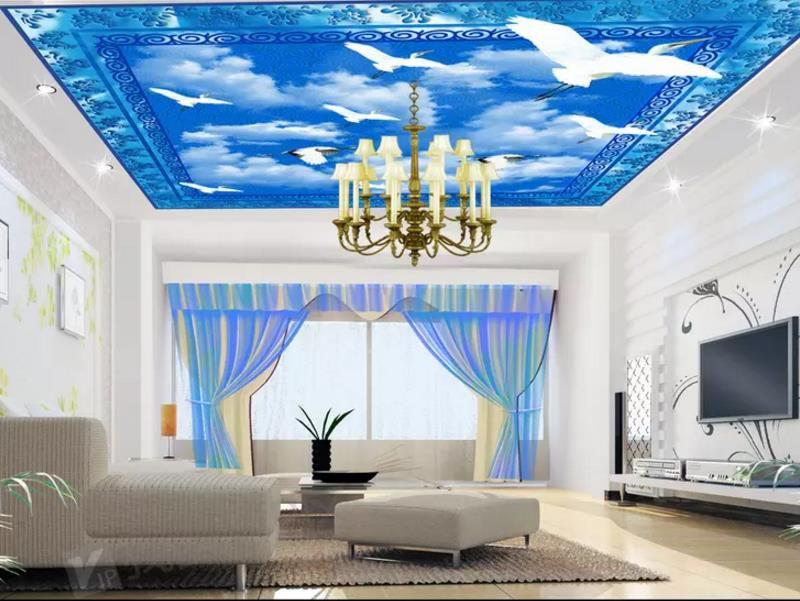 custom 3d photo wallpaper mural non-woven room ceiling mural blue sky and white clouds bird picture muarl wallpaper for wall 3d 10 6 5feet 300 200cm photography backdrops vast blue sky and white clouds sofa free shipping