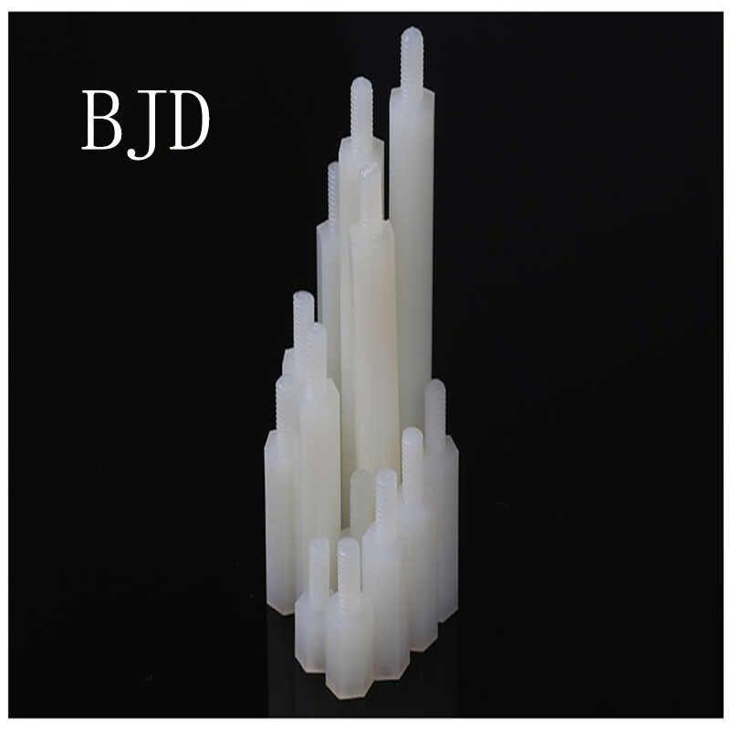 100pcs Male To Female Thread M2*5/6/8/10/12/15/18/20mm+5mm White Plastic Nylon Hexagon Hex Standoff Spacer Pillars column