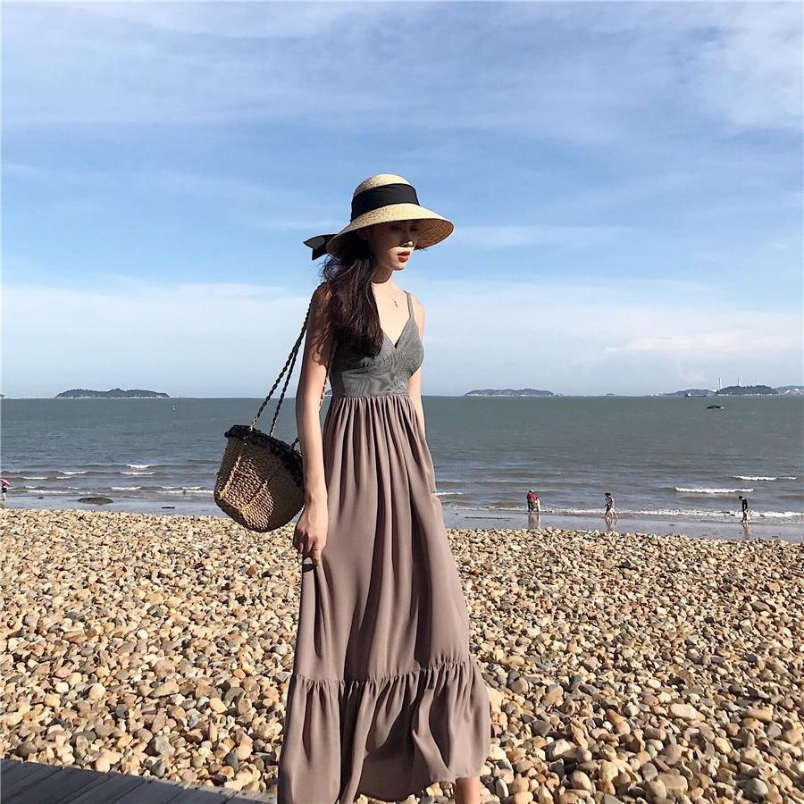 2018 la Vente Directe Se Précipita Bali Island Beach Jupe Rétro Rayé Sangle Robe, mince Station Balnéaire, vacances Thaïlande Sexy Jupe