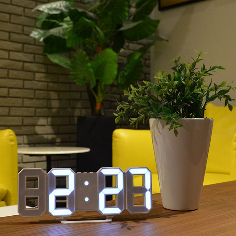 3D LED Wall Clock Modern Digital Alarm Clock Display Home Kitchen Office Table Desk Night Wall Clock 24 Or 12 Hour Display(whi image