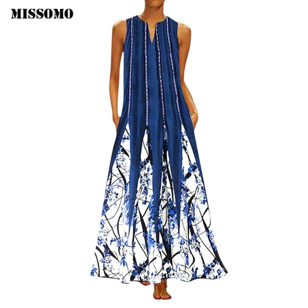 MISSOMO Plus size 5XL Women Dress Vintage Print Daily Casual Bohemian long Maxi Dress V Neck Sleeveless retro vestido elbise 618