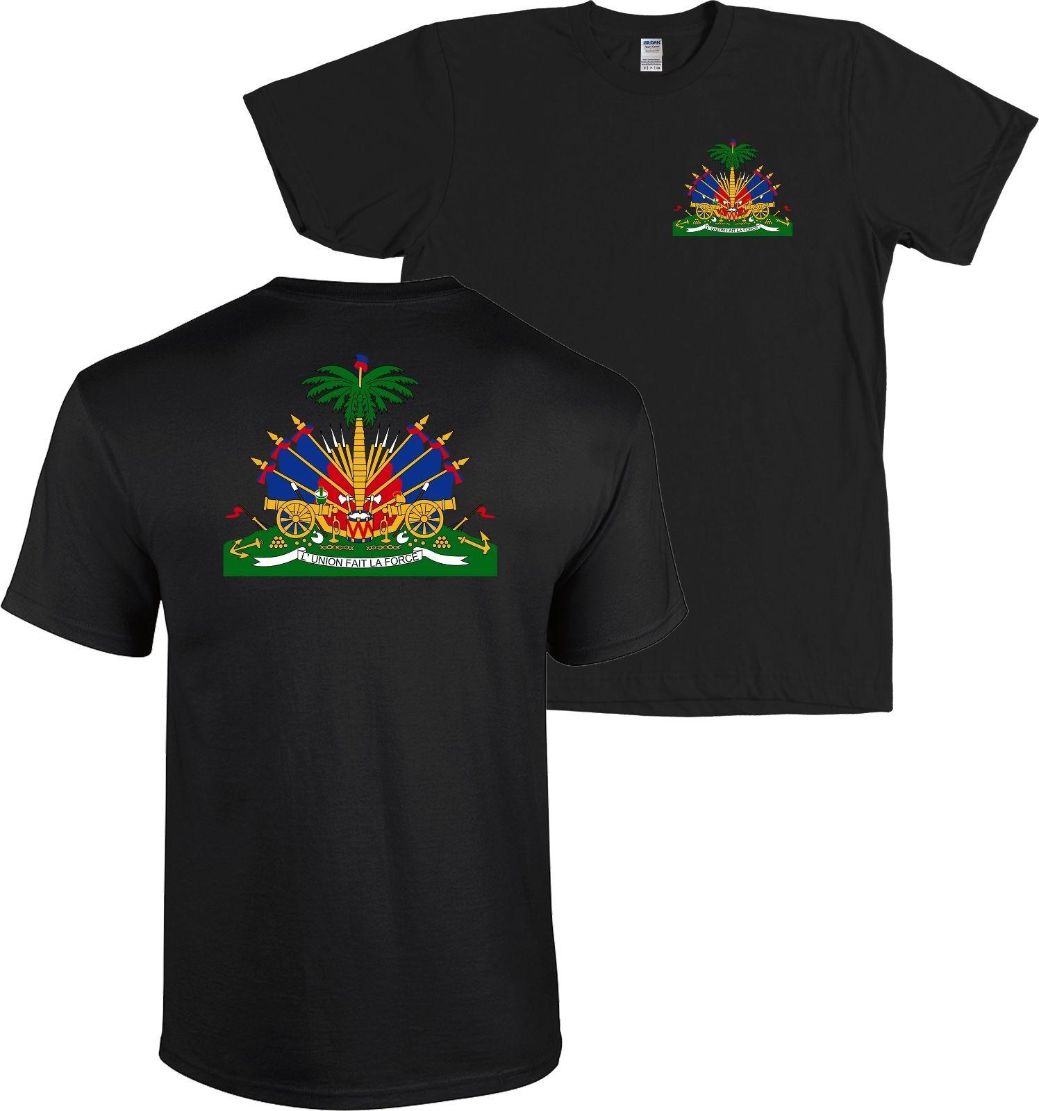 Haiti Coat of Arms Front & Back Print T Shirt Haitian Caribbean Republic - NEW