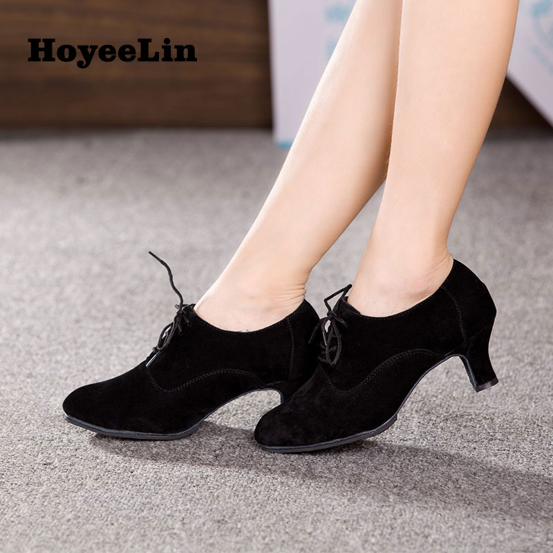 New Arrival Women Ladies Modern Dance Heels Closed Toe Lace Up Ballroom Party Tango Salsa Dancing Shoes Removing Obstruction