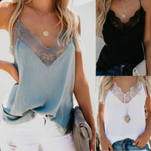 цены на Women Summer Lace Sleeveless Sexy Vest Top Blouse Camis Solid Casual V Neck Halter Spaghetti Tank Tops Camisole Ladies Backless в интернет-магазинах