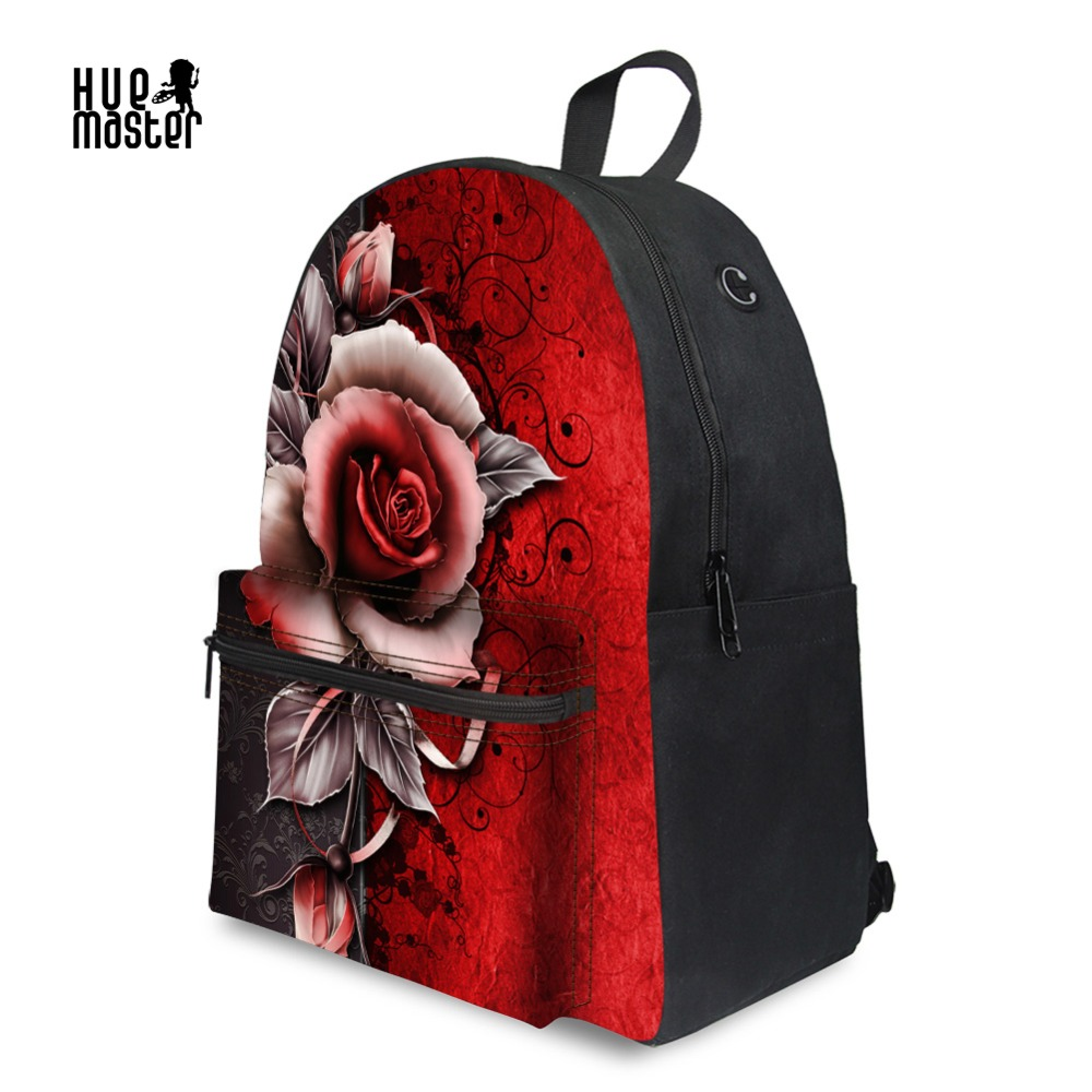 Rose Printing Canvas Backpacks For Teens Girls Japan Style School Bag 14 Inch Laptop Backpack Female Travel Casual Rucksack