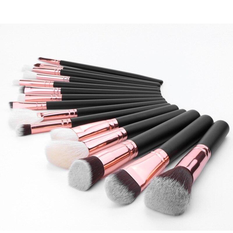 Коряжные 15 шт. черные кисти из козьей шерсти с розовой ручкой, шерсть животных, кисти для макияжа, кисти для макияжа pinceaux maquillage pincel maquiagem