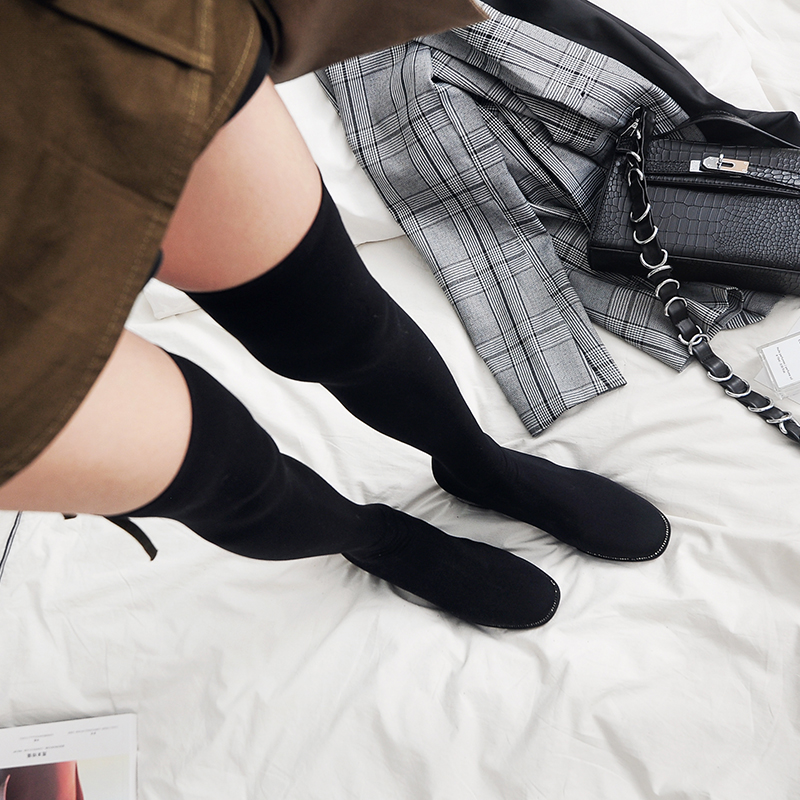 Das Über 2018 Frauen Mujer Stretch Schuhe Kristall Hohe Schlank Luxus Mode Knie Botines Stiefel Ferse Oberschenkel Socke xqPxwHzfvO