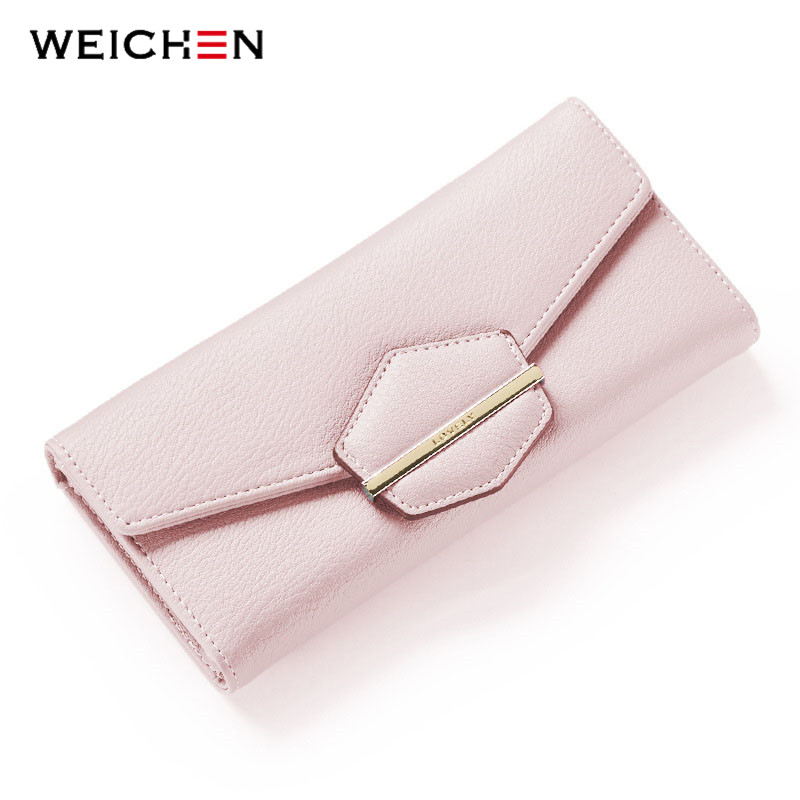 WEICHEN New Long Hasp Day Clutch Wallet For Women Soft PU Leather Coin Phone Pocket Card Holder Fashion Lady Wallets Purse simline fashion genuine leather real cowhide women lady short slim wallet wallets purse card holder zipper coin pocket ladies