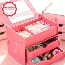 Двойной деревянный ящик для хранения zakka макияж организатор коробка для ювелирных изделий с зеркалом кассеты рабочий стол организатор