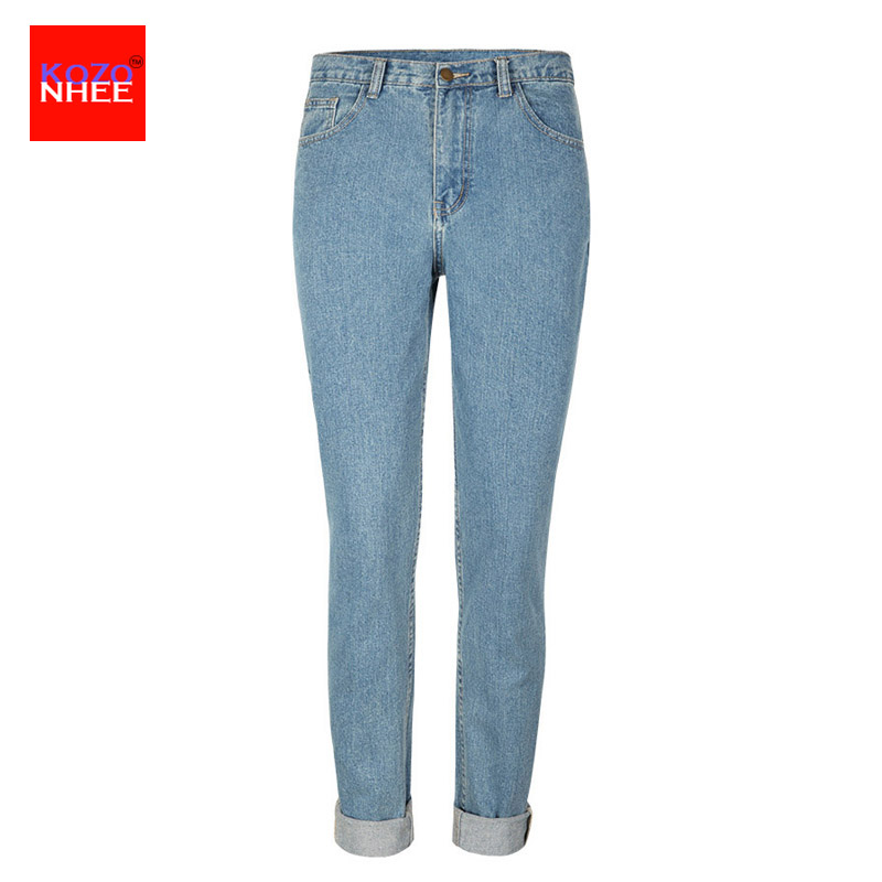 Women`s Plus Size High Waist Washed Light Blue True Denim Pants Boyfriend Jean Femme For Women Jeans fashion women high waist blue jeans denim pants boyfriend jean femme jeans trousers plus size s 2xl