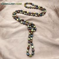 Stunning long necklace pearls blue Colourful Rope knotted twisted sheen blue brown yellow color semi baroque irregular for women
