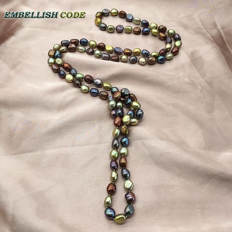 Superbe sautoir perles bleu coloré corde nouée brillance torsadée bleu marron jaune couleur semi baroque irrégulière pour les femmes