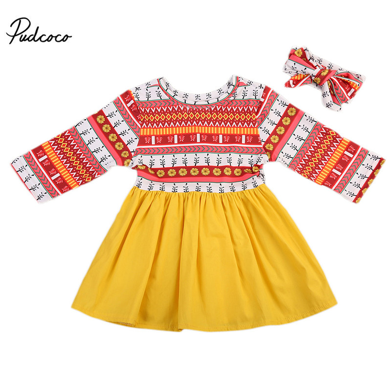 Pudcoco 2pcsSet Newborn Toddler Kids Baby Girl Printed Princess Short Sleeve Dresses +Headband Clothing 0-24M