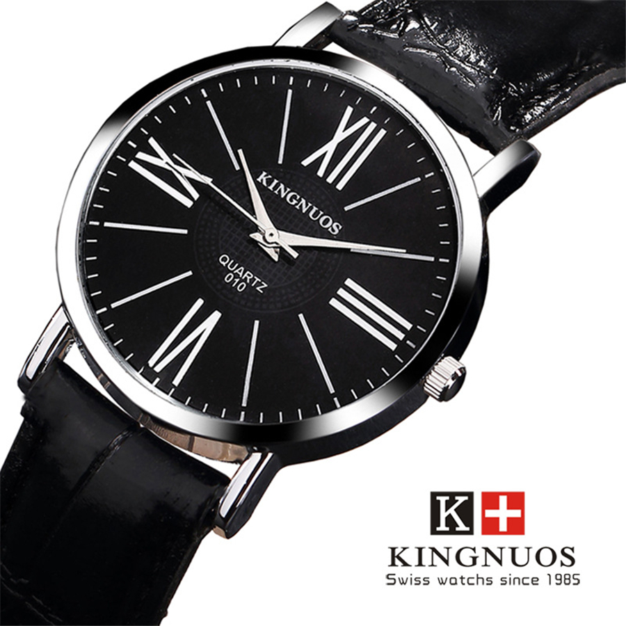 KINGNUOS Classic Retro Men Watch Rome Word Quartz Clock Black Brown Band Leather TOP Brand Male Wrist Watches Orologi uomo Hot все цены