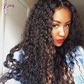 Puervian Virgem Cabelo Kinky Curly Full Lace Perucas de Cabelo Humano & Parte Dianteira do laço Peruca Cor Natural Perucas de Cabelo Humano Livre grátis
