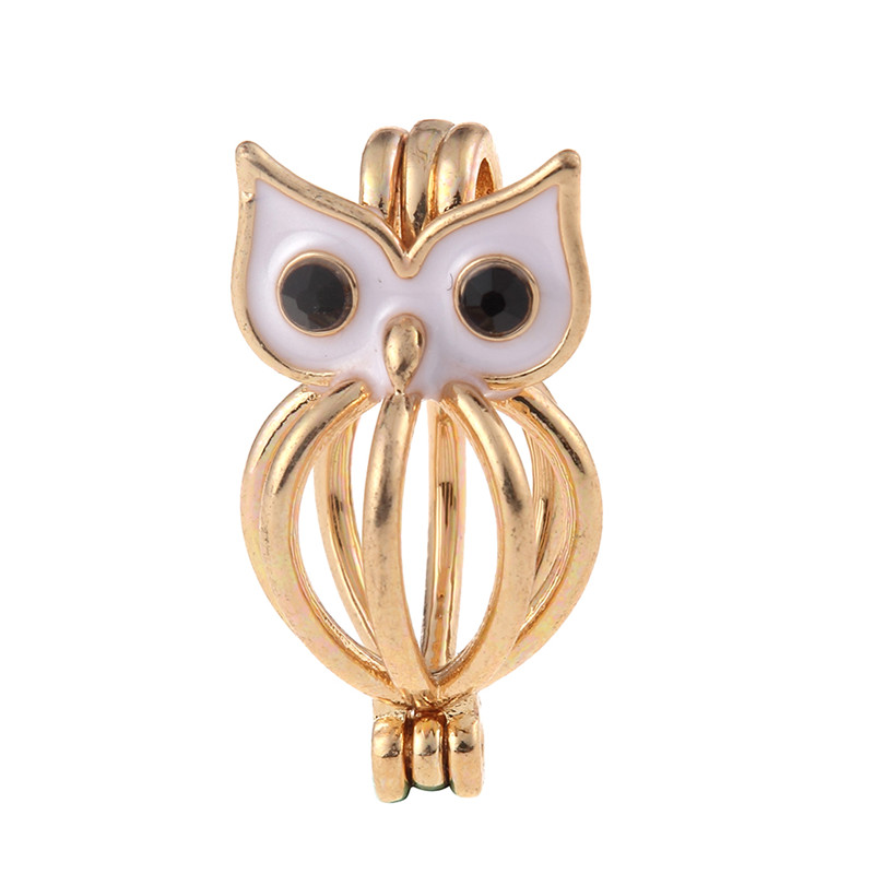 5pcs Minnie Owl Mouse Shaped Locket Ball Cage Pendant Mountings Can Open Charms DIY Jewelry Making Accessories
