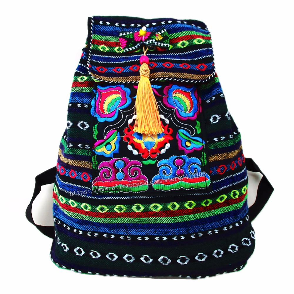 Tribal Vintage Hmong Thai Indian Ethnic Embroidery Bohemian rucksack Boho hippie ethnic bag backpack bag L size SYS-170E vintage hmong boho tribal ethnic thai indian boho embroidery hand bag messenger purse bag hobo tote bag pom bead trim sys 1016