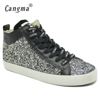 CANGMA Luxury Woman Paillette Shoes Mid Flats Sequined Black And White Sneakers For Girls Lace Up