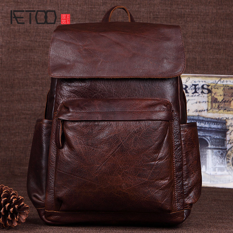 AETOO New leather men backpack leisure first layer of leather shoulder bag fashion trend travel backpack aetoo canvas shoulder bag men travel bag leisure mountaineering bag with leather backpack