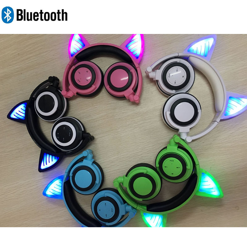 Headphones Cat ear bluetooth headphone Cat ear Glowing LED light Handsfree bluetooth headset foldable gaming headphones for kids slogan print cat ear marled hoodie