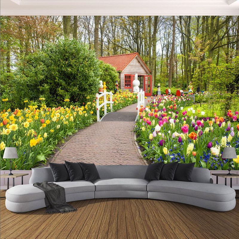 garden background living wall landscape path murals bedroom decor 3d pastoral zoom cloth fabric wallcoverings textile improvement