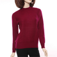 100%goat cashmere knit women fashion diamonds pullover sweater half high ruffles collar sky blue 6color S 3XL