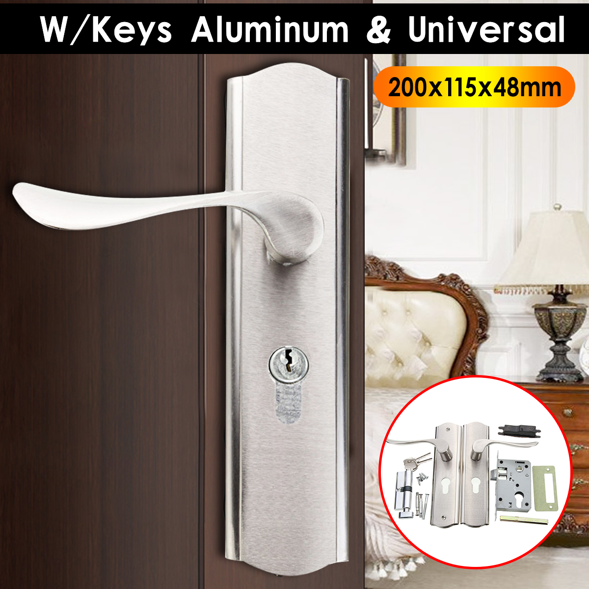 MTGATHER Universal Aluminum Polished Door Handle Front Back Lever Lock Cylinder Dual Latch with Keys Durable Home Door Handles цена