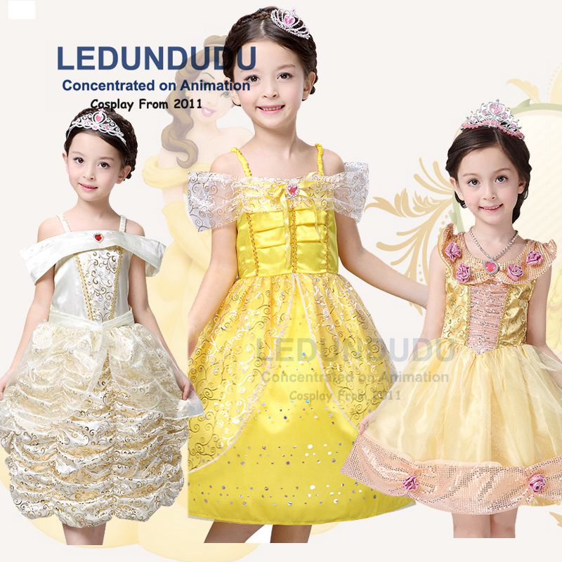 Kids Beauty and the Beast Cosplay Costume Girls Fancy Party Dress Belle Princess Children Yellow Dress