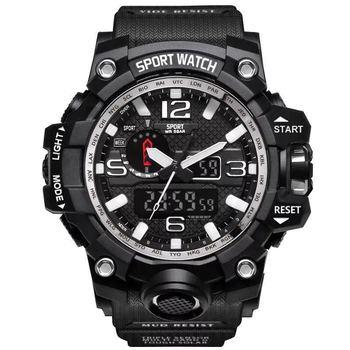 2019 Brand Mannen Sport Horloges Dual Display Analoge Digitale LED Elektronische Quartz Horloges Waterdicht Zwemmen Militaire Horloge