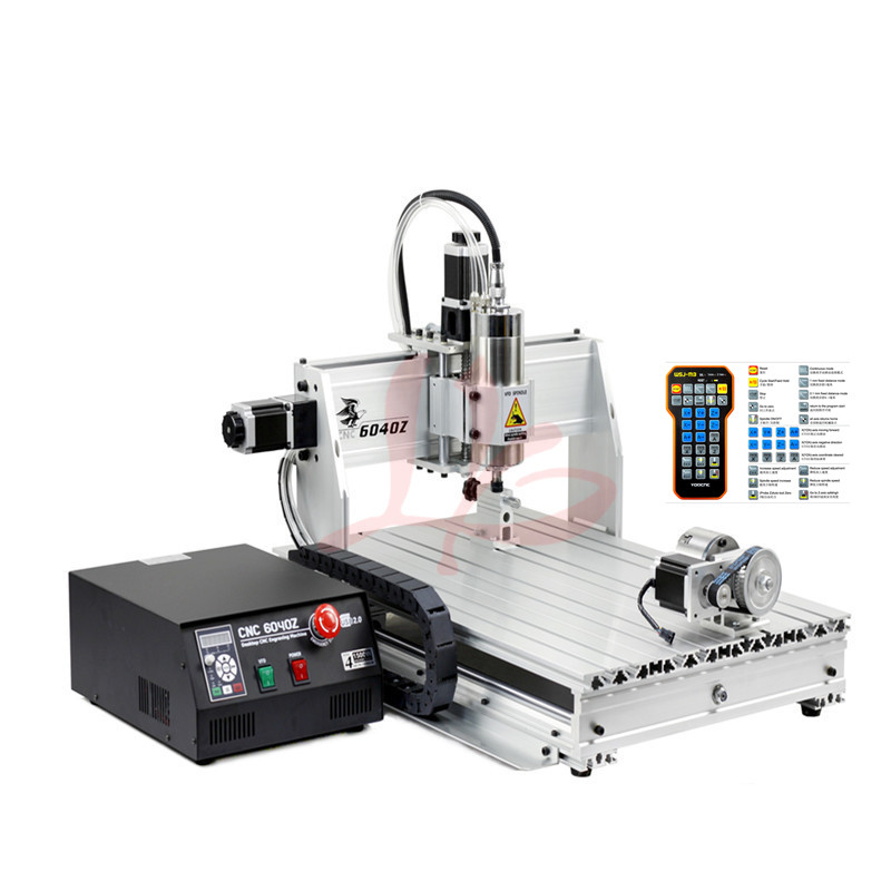 2200W spindle 4axis CNC router 6040 USB port mini cnc engraving milling lathe machine with limit switch and ER20 collet cheap price mini cnc router 2520t 3 axis 200w spindle for new user or school tranining